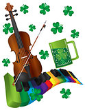 St Patricks Day Violin with Colorful Piano Keyboard