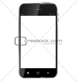 Abstract design  realistic mobile phone with blank screen isolat