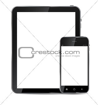 Abstract design  realistic mobile phone and tablet with blank sc