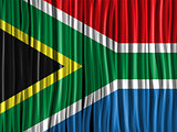 South Africa Flag Wave Fabric Texture Background