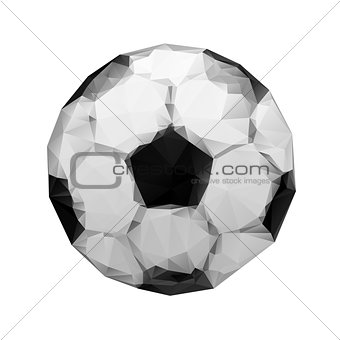 Abstract geometric polygonal football. wrinkled paper. origami style.