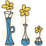 Vector illustration. Flowers in vases. set