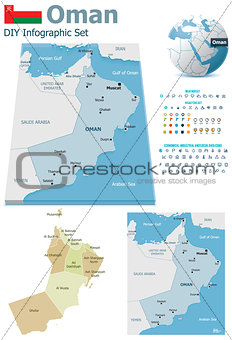 Oman maps with markers