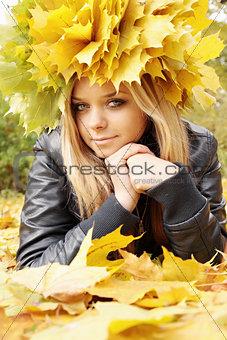 blonde girl in a wreath