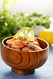 shrimp in a wooden bowl