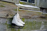 ice skates on barn