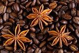macro shot star anise on a coffee