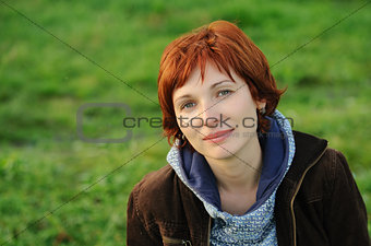 Attractive woman with red hair