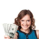 Portrait of pretty young woman holding a fan of dollar bills