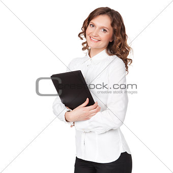 Portrait of smiling business woman with paper folder