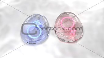 3D Lighting Male And Female Sex Symbols In Water Drops