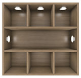 Wooden shelves with built-in lights