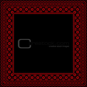 Black frame with red ornaments