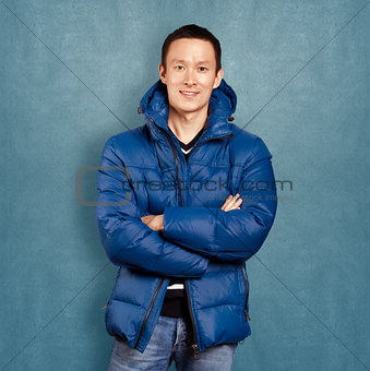 Asian Man in Down Padded Coat