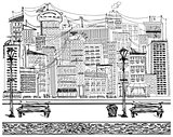 Vector Sketch background with city