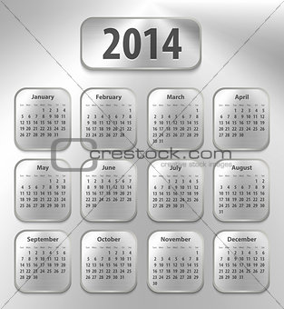 Calendar for 2014 on brushed metal tablets