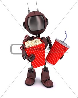 Android with popcorn and soda