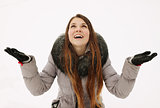 girl rejoices to snow
