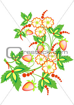 Abstract strawberry branch