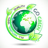 Ecology Green conceptual background with green related slogan