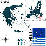 Map of Greece with European Union