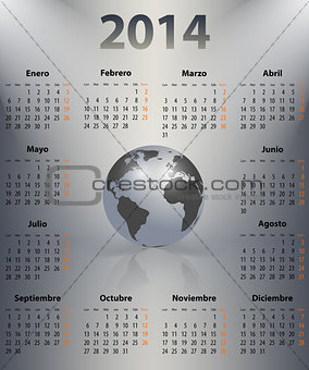 Calendar for 2014 year in Spanish with the world globe in a spot