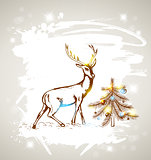 Deer and Christmas tree