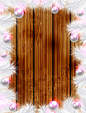 Christmas wooden background with white fir