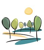 Vector trees at sunny spring or summer day - eco landscape illustration