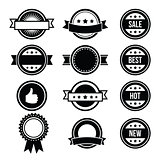 Retro round badges, vintage labels set - vector