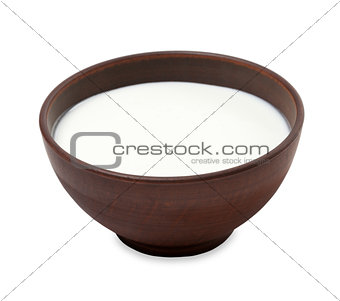 Ceramic bowl with milk
