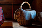 Wicker basket with a towel
