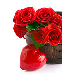 bouquet red roses with symbol of heart