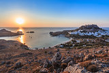 sunrise in the Lindos