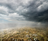 Clouds over the autumn field