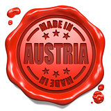 Made in Austria - Stamp on Red Wax Seal.