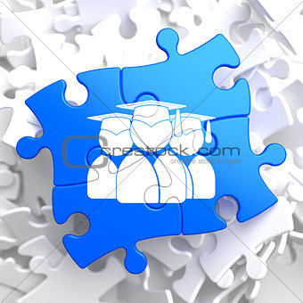 Group of Graduates Icon on Blue Puzzle.