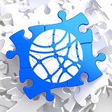 Social Network Icon on Blue Puzzle.