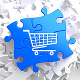 Shopping Cart Icon on Blue Puzzle.