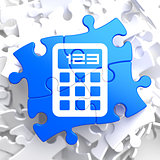 Calculator Icon on Blue Puzzle.