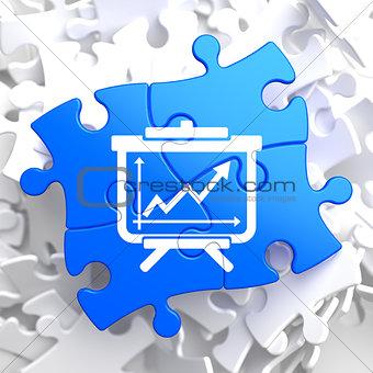 Flipchart Icon on Blue Puzzle.