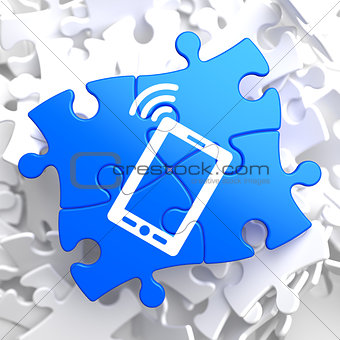 Smartphone Icon on Blue Puzzle.