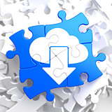 Cloud with Arrow Icon on Blue Puzzle.