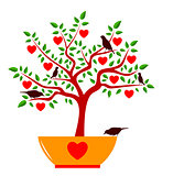 heart tree and birds