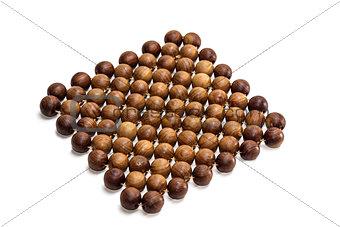 a trivet of juniper beads