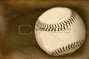 Retro vintage grunge style image of baseball and glove with age