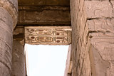 Egyptian hieroglyphs on the ceiling of the temple of Karnak