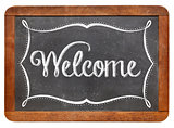 Welcome on slate blackboard
