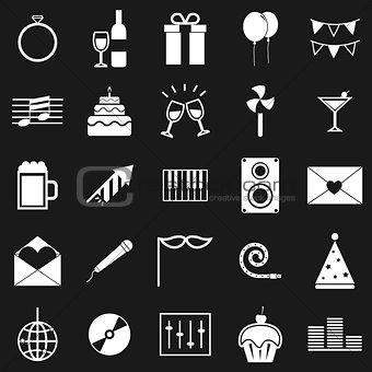 Celebration icons on black background