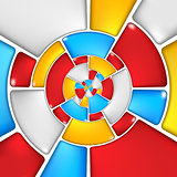 Concentric colorful mosaic pattern.